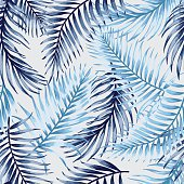 Seamless pattern with tropical leaves.