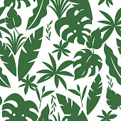 Seamless pattern with tropical palm leaves, foliate ornament, rainforest theam