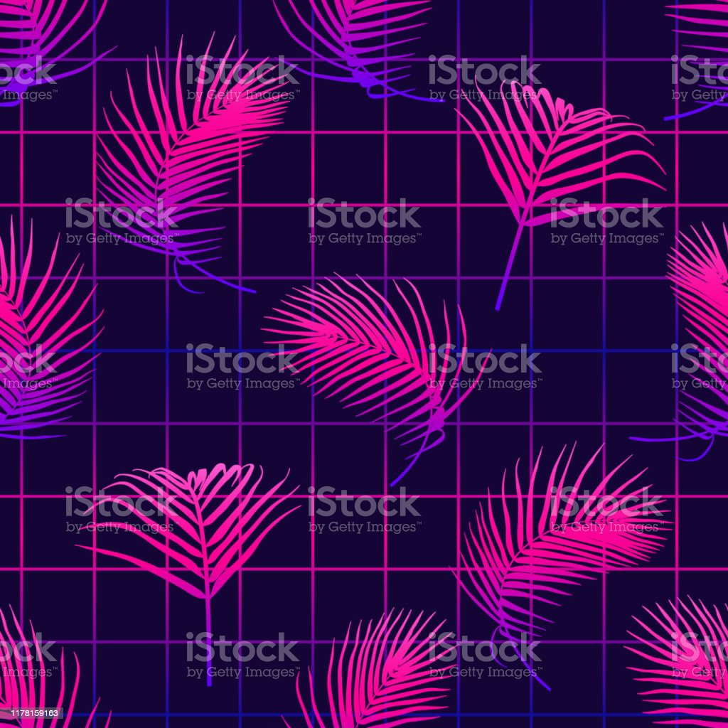 Seamless Pattern With Tropical Palm Leaves On Laser Grid