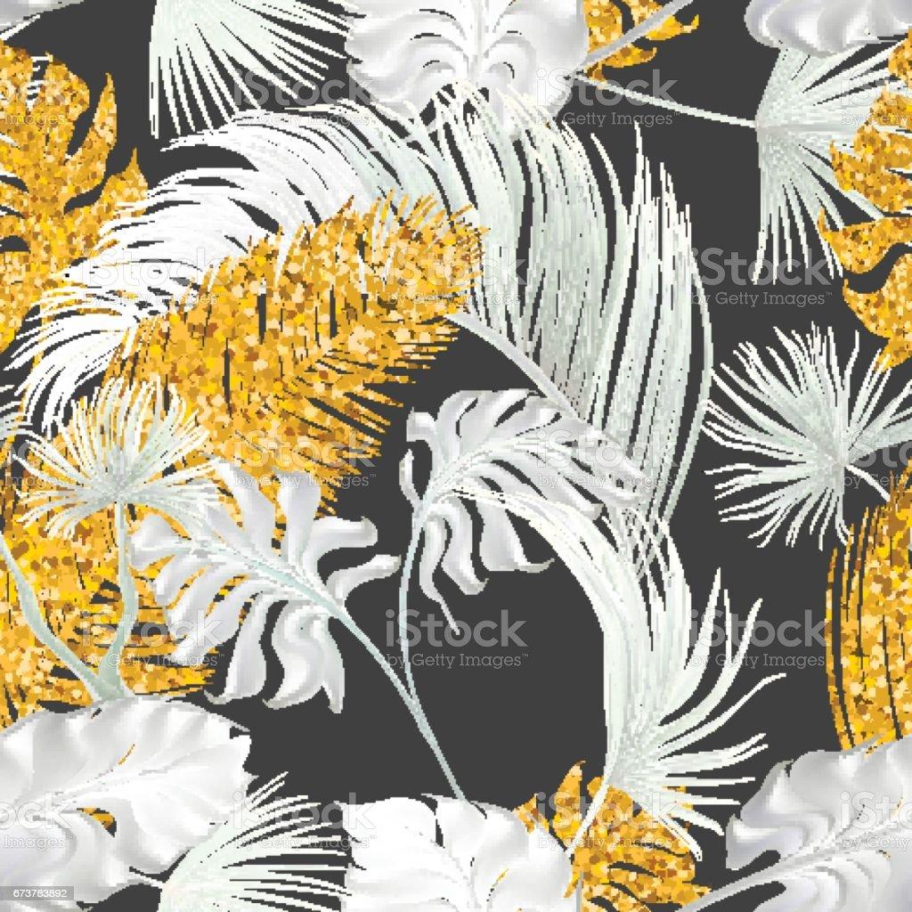 Feuilles de transparent modèle avec palmiers tropicaux. feuilles de transparent modèle avec palmiers tropicaux – cliparts vectoriels et plus d'images de art libre de droits