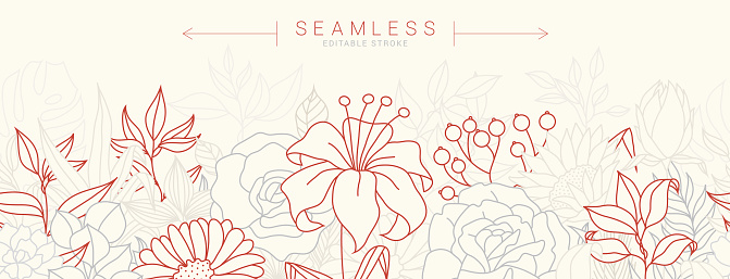 Seamless pattern with tulips stock illustration
