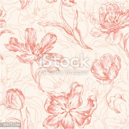 istock seamless pattern with tulips 165721744