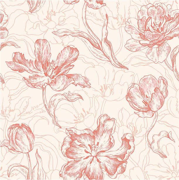 연속무늬, 튤립 - 꽃 식물 stock illustrations