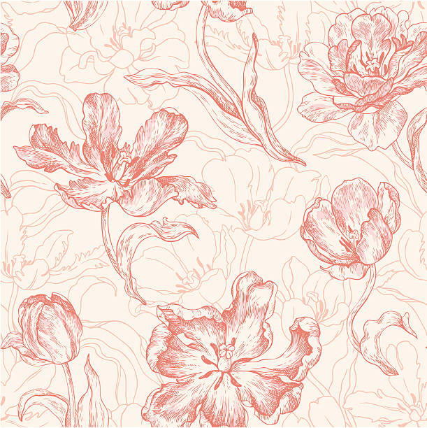 stockillustraties, clipart, cartoons en iconen met seamless pattern with tulips - bloemenmotief