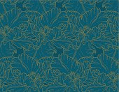 Seamless vector floral pattern with hand-drawn tulips