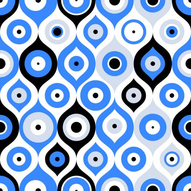 stockillustraties, clipart, cartoons en iconen met naadloze patroon met turkse boze oog kraal. succes. turkse tegel. oosterse ottomaanse ontwerp vector achtergrond. perfect voor achtergronden, opvulpatronen, web-pagina-achtergronden, oppervlakte texturen, textiel - turkse cultuur