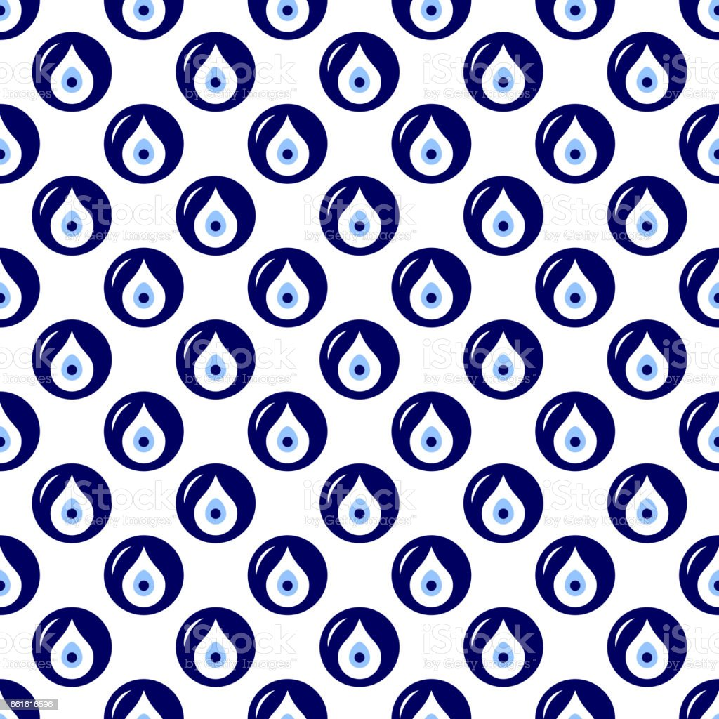 Seamless pattern with Turkish evil eye bead. Good luck. Turkish tile. Oriental ottoman design vector background. Perfect for wallpapers, pattern fills, web page backgrounds, surface textures, textile vector art illustration