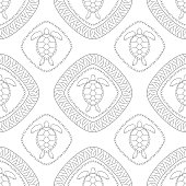 Seamless pattern with turtle and polynesian symbols