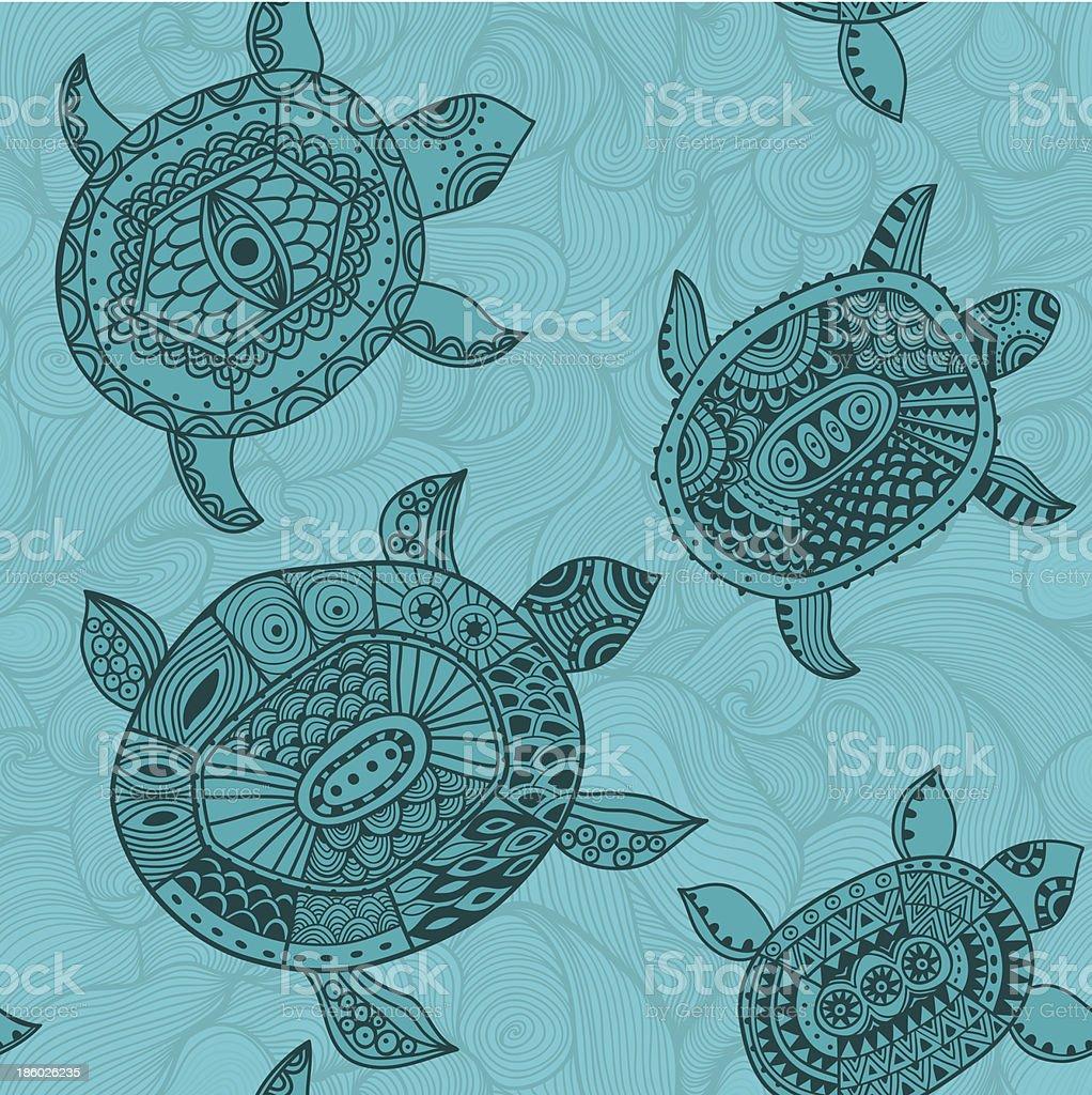 Seamless pattern with turtles. vector art illustration