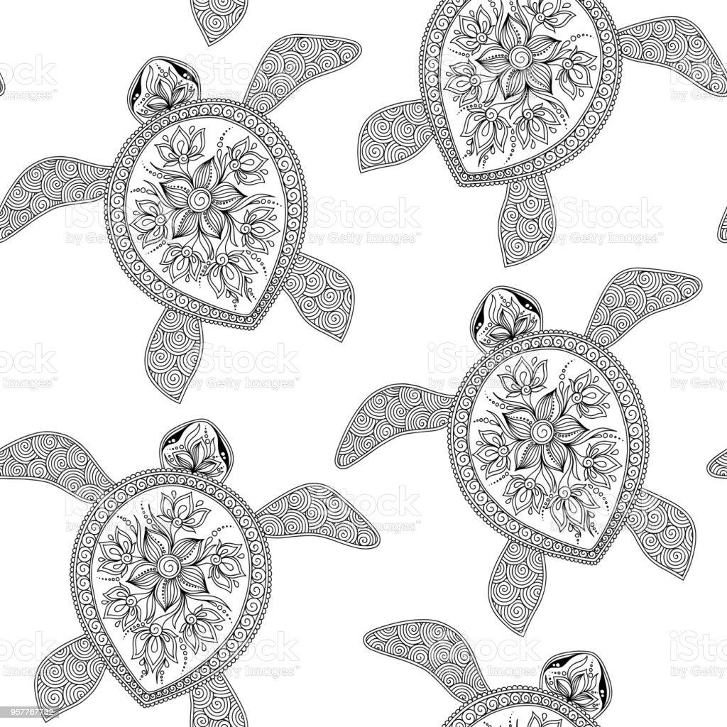 Patrón Sin Costuras Con Tortugas - Arte vectorial de stock y más ...