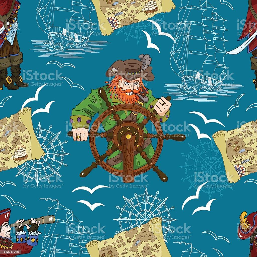 Motif uniforme avec deux capitaines de pirate et carte - Illustration vectorielle