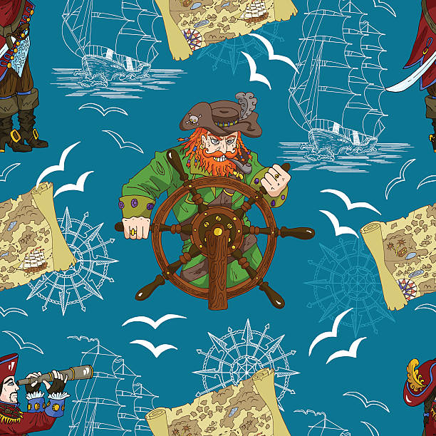 seamless pattern with two captains and pirate map - treasure map backgrounds stock illustrations, clip art, cartoons, & icons