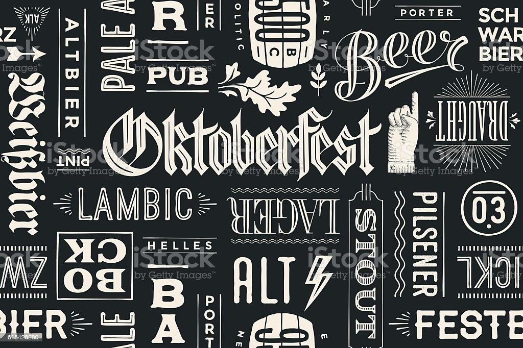 Seamless pattern with types of beer and hand drawn lettering vector art illustration