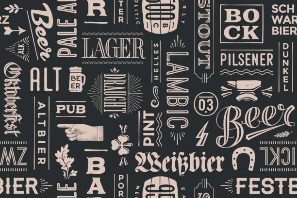 맥주와 손으로 그린 글자의 종류 완벽 한 패턴 - 독일 문화 stock illustrations