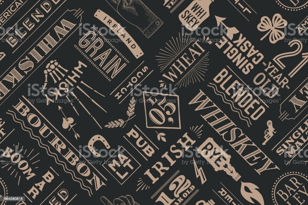Seamless pattern with types of whiskey vector art illustration
