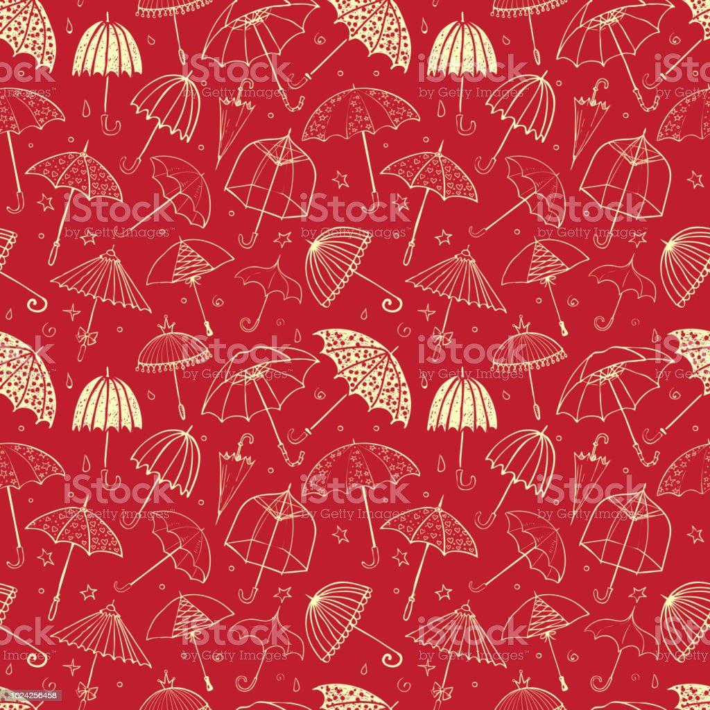 Seamless Pattern With Umbrellas On Red Background Can Be Used For Wallpaper Fills