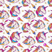 Seamless pattern with unicorn heads and ice cream. Vector illustration