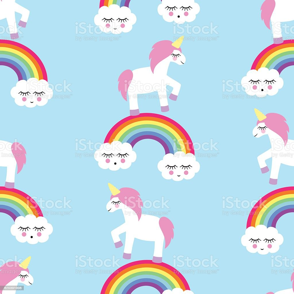 Seamless Pattern With Unicorns And Rainbows Stock Vector