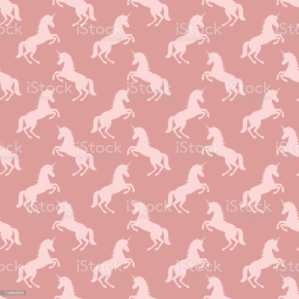 seamless pattern with unicorns. pink powder color background....