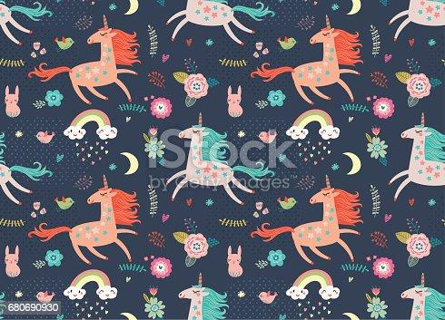 istock Seamless pattern with unicorns 680690930
