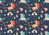 Seamless pattern with unicorns , hare, birds and flowers
