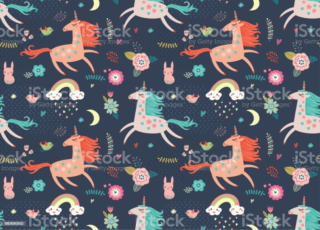 Seamless pattern with unicorns vector art illustration