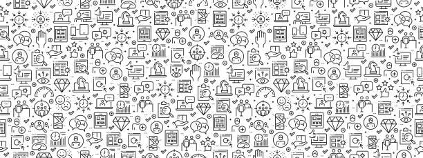 illustrazioni stock, clip art, cartoni animati e icone di tendenza di seamless pattern with user experience icons - focus group
