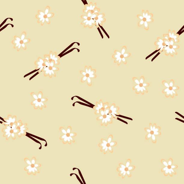 Nahtlose Muster mit Vanilleschoten und Blüten. – Vektorgrafik