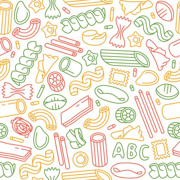 Seamless pattern with varieties of pasta Seamless pattern with varieties of pasta. Design elements in thin line style. Color print on white background rotelle stock illustrations