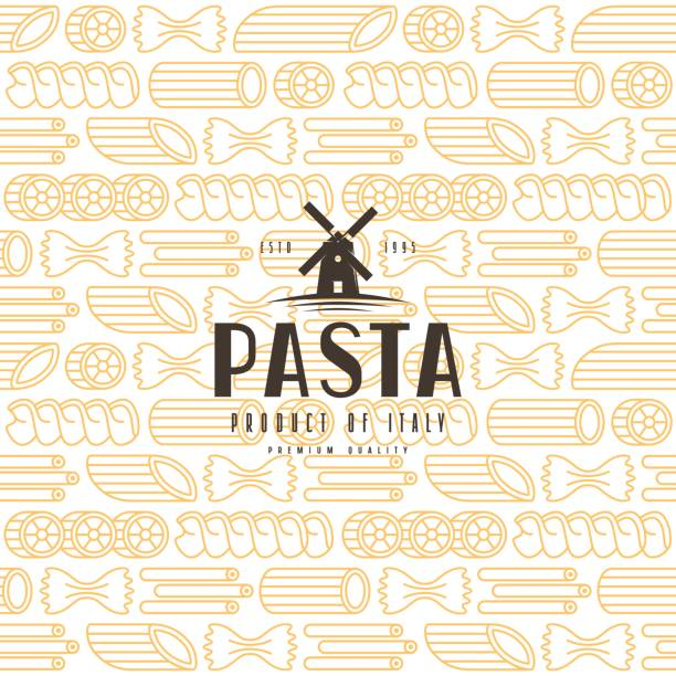 Seamless pattern with varieties of pasta Seamless pattern with varieties of pasta. Typography composition with a picture of windmill rotelle stock illustrations