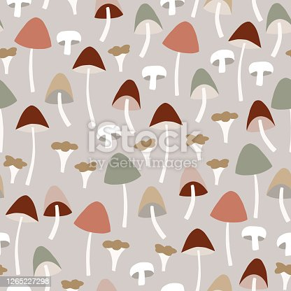 Seamless pattern with various colorful whole and cut mushrooms. Agaric, chanterelle and galerina fungi vector illustration background, autumn tile design for textile, fabric and scrapbooking.
