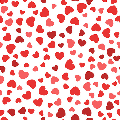 Seamless pattern with vector flat color hearts