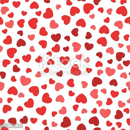 Seamless pattern with vector flat hearts. Design for packaging, clothing, bed linen, for wrapping paper. Valentines Day gifts.