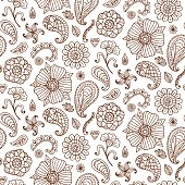 Seamless pattern with vector henna tattoo doodles set. Indian paisley, floral asian ethnic design elements, isolated on white background. Indian, oriental style. Boho textile print