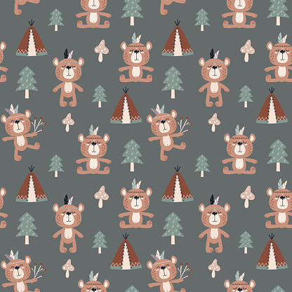 seamless pattern with vector illustrations of cute animals bears. background for baby design