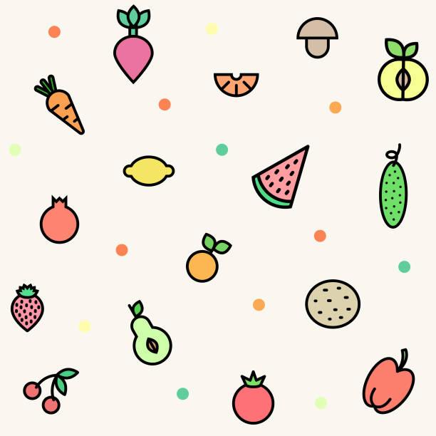 塗りつぶされたアウトライン スタイルに野菜や果物とのシームレスなパターン。アップル、みかん、チェリー、印刷、web サイト、レストラン、食料品店、スーパー マーケットのニンジンとベクトルのベジタリアンの背景。 - ベビーフード点のイラスト素材/クリップアート素材/マンガ素材/アイコン素材