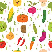 Seamless pattern with vegetables. Cute background