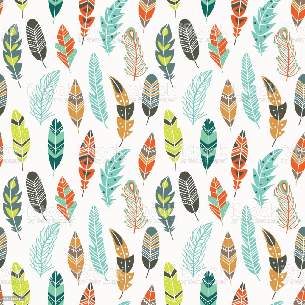 Seamless pattern with vintage ethnic feathers in pastel colors royalty-free seamless pattern with vintage ethnic feathers in pastel colors stock vector art & more images of animal wildlife