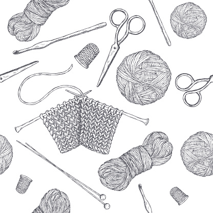 Seamless pattern with vintage knitting tools. Based on hand drawn sketch. Hobby class series.