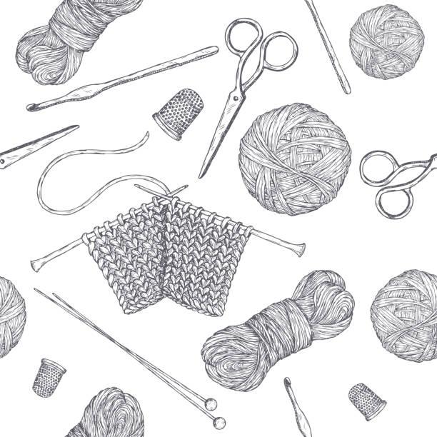 ヴィンテージ編みツールとシームレスなパターン。手描きのスケッチに基づいています。ホビークラスシリーズ。 - 編む点のイラスト素材/クリップアート素材/マンガ素材/アイコン素材