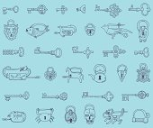 Seamless pattern with vintage locks and keys in vector.
