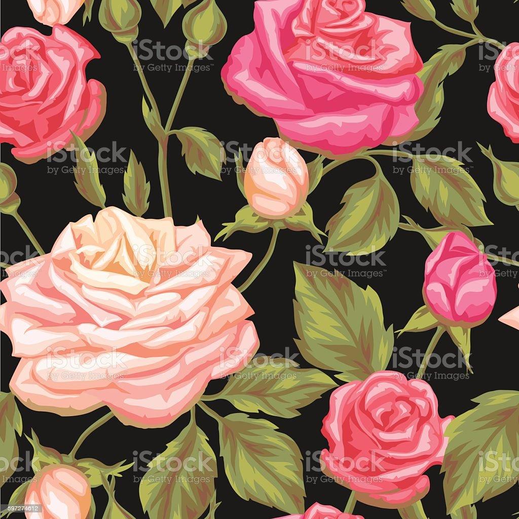 Nahtlose Muster mit Jahrgang Rosen. Dekorative retro-Blumen. Einfach, Lizenzfreies nahtlose muster mit jahrgang rosen dekorative retroblumen einfach stock vektor art und mehr bilder von altertümlich