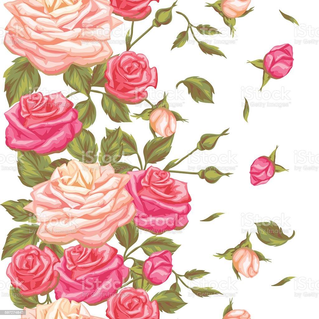 Ilustración De Excelente Patrón Con Rosas Vintage Retro Decorativa