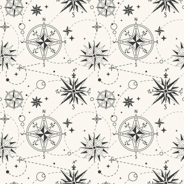 nahtlose muster mit vintage windrose. nautische hintergrund. retro-handgemalte vektor-illustration - steampunk stock-grafiken, -clipart, -cartoons und -symbole