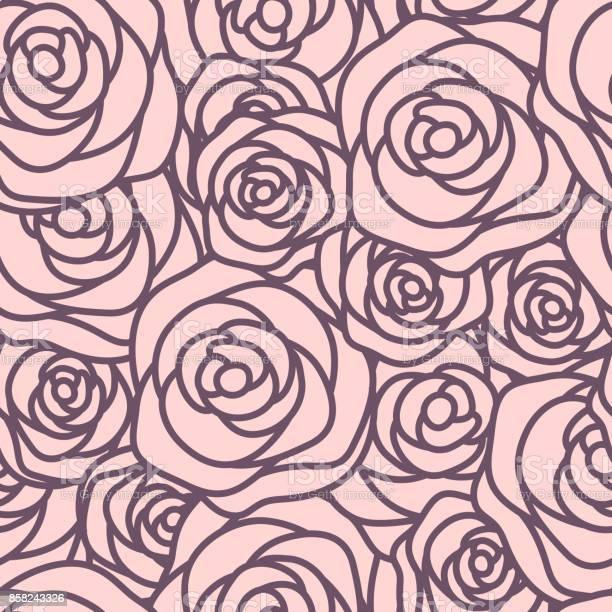 Seamless pattern with violet outline roses on pink background vector vector id858243326?b=1&k=6&m=858243326&s=612x612&h=vwbnb51p y7y zuf3q0t4l xyvmx cbkzsvirwb0bmm=