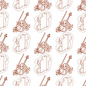 Seamless pattern with violin and outline map of Ireland.