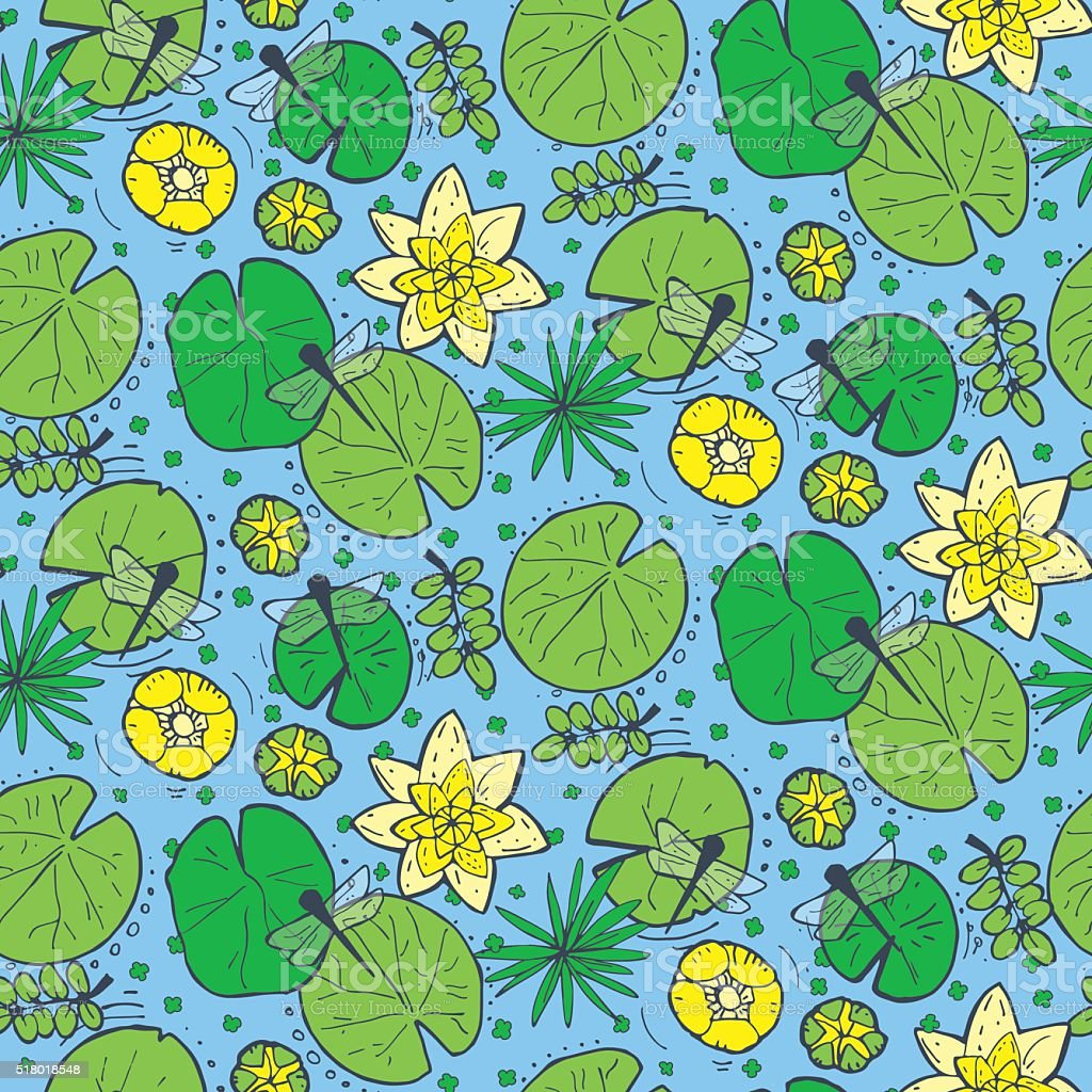 Seamless pattern with water and underwater plants vector art illustration