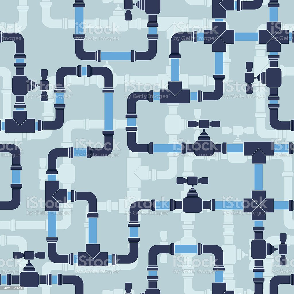 Seamless pattern with water pipeline. vector art illustration