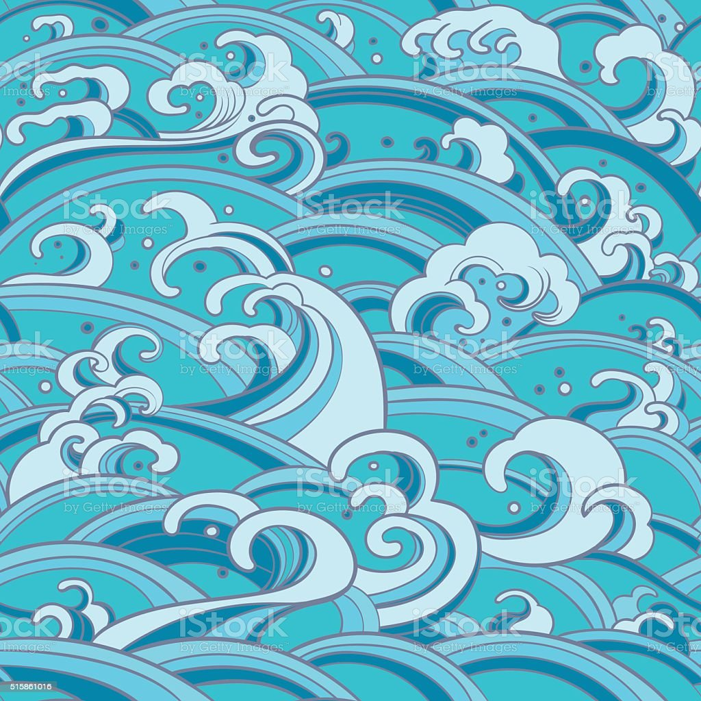 seamless pattern with water waves and splashes vector art illustration