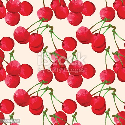 Seamless pattern with bright watercolor cherry - vector artwork
